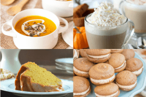 collage of pumpkin spice treats