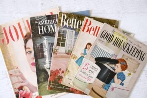 vintage magazines on table