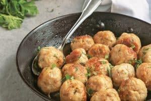 beer turkey meatballs in pan