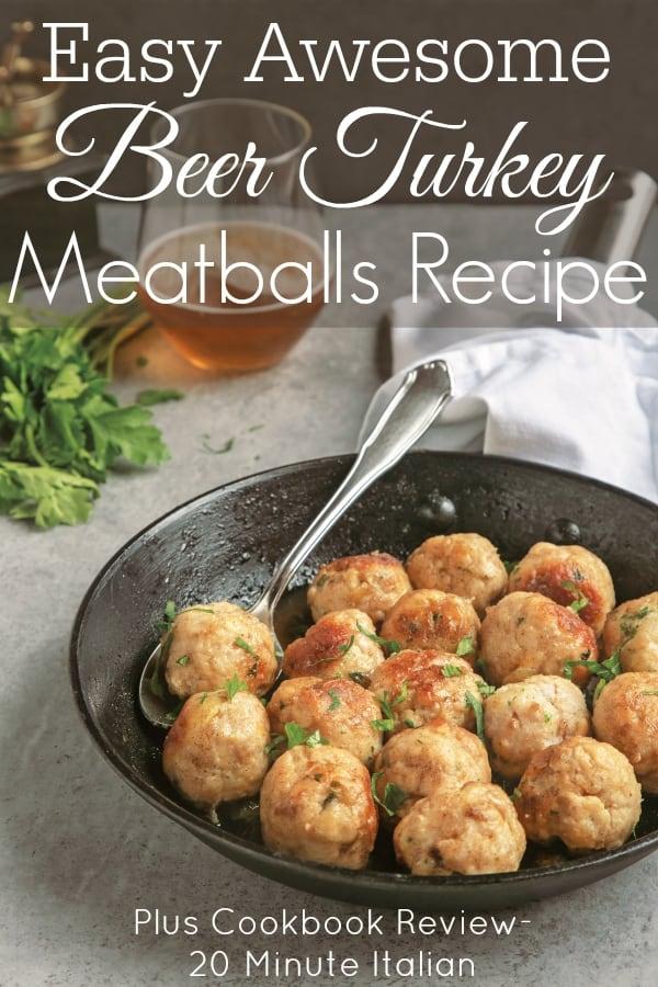 beer turkey meatballs in pan on table