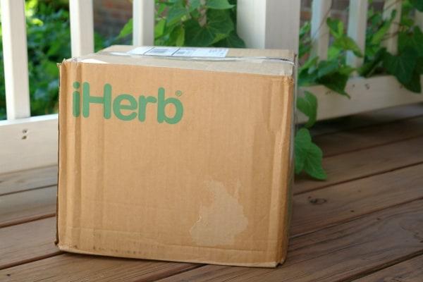 iherb box on porch