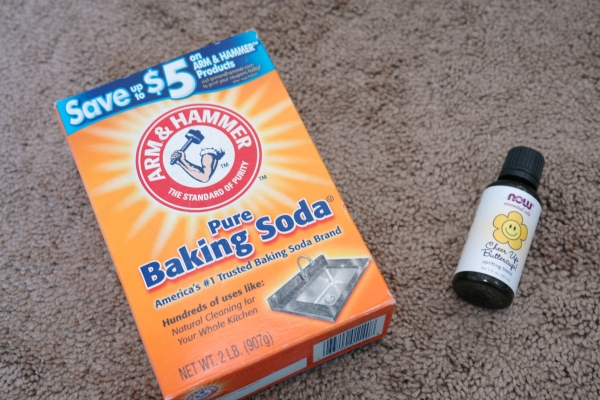 baking soda and essential oils on carpet