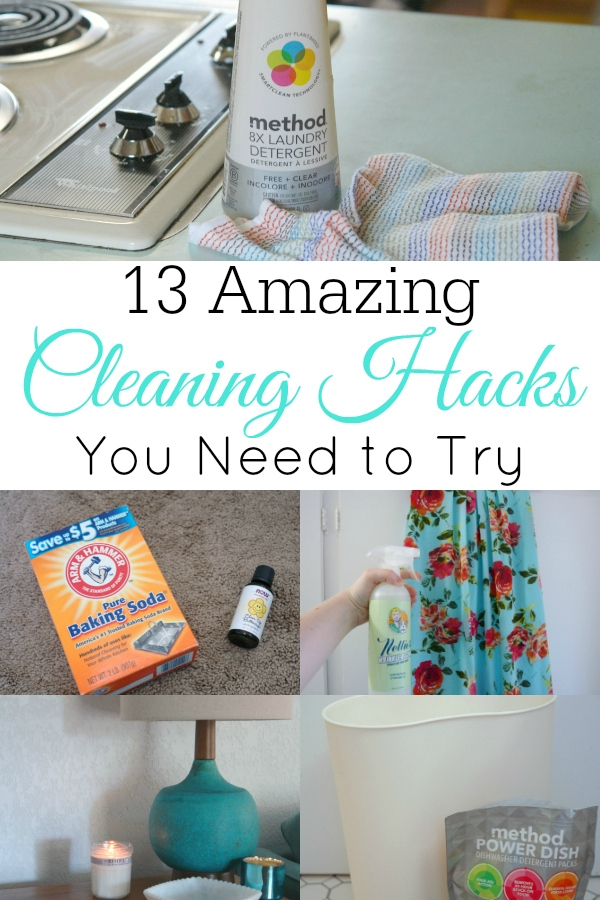 collage of cleaning hacks