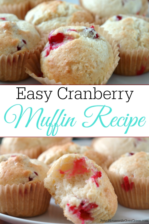 collage of cranberry muffins