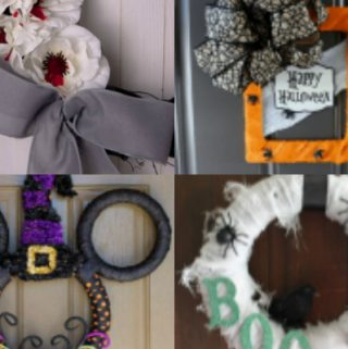 collage of halloween wreaths
