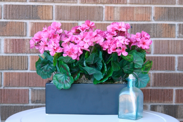 pink flowers in black planter and blue candle