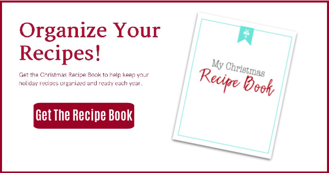 graphic with Christmas recipe book and text overlay organize your recipes, get the recipe book