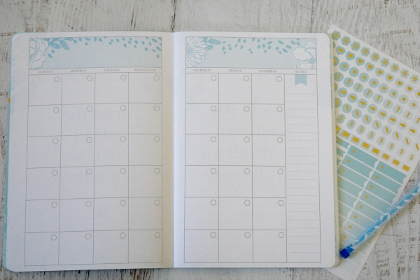 Monthly planner option with stickers and pen