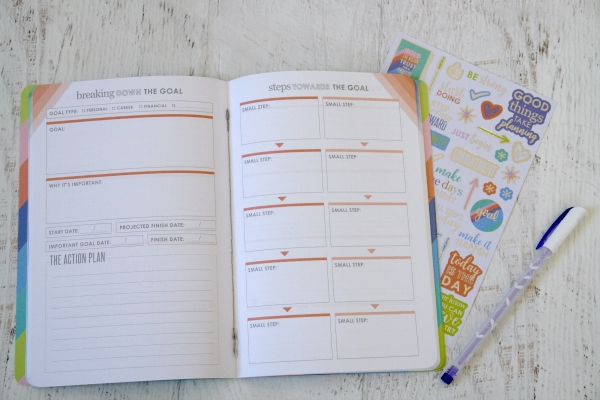 Petite Planner goal setting journal, stickers, and pen