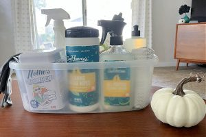 cleaning supplies in plastic caddy on table with white pumpkin