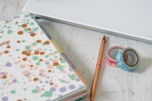 planner, planner supplies, and dry-erase desktop pad