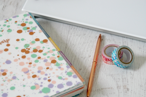 planner, planner supplies, and dry-erase desktop pad