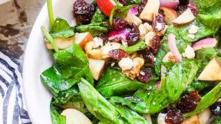Spinach Apple Salad with Honey Balsamic Vinaigrette