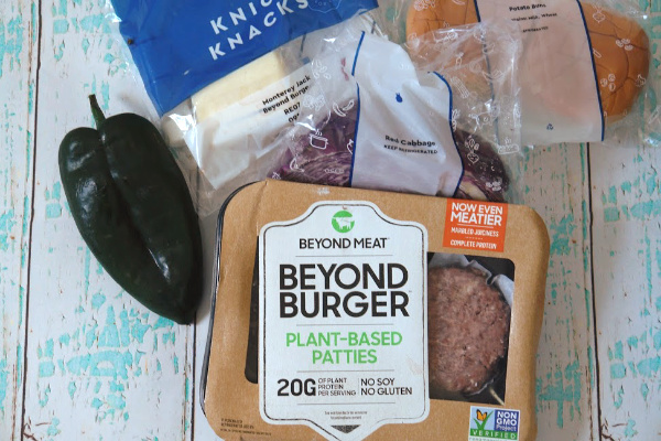 blue apron box with ingredients for a Beyond Burger