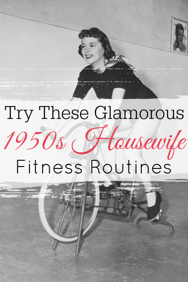 1950s housewife on exercise bike