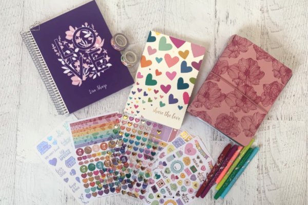 Erin Condren notebook, calendar, planner, and other supplies