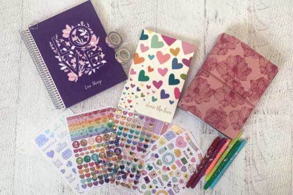 Erin Condren notebook, calendar, planner, and other supplies