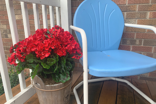 red flowers in pot on porch next to blue metal chair