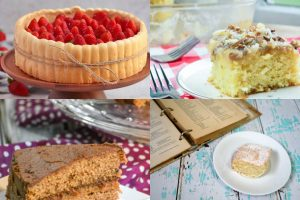 collage of old-fashioned cake recipes