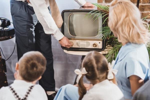 family around retro tv