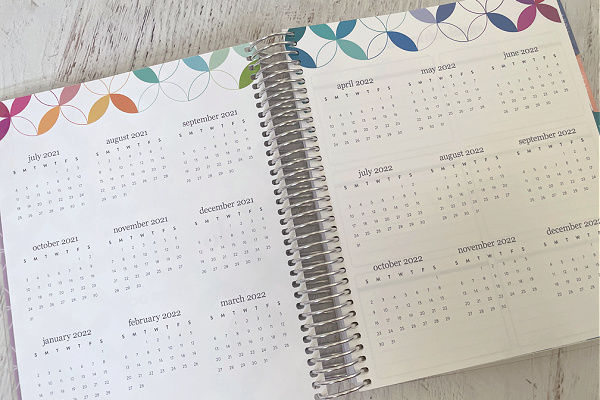ErinCondren planner opened to year at a glance