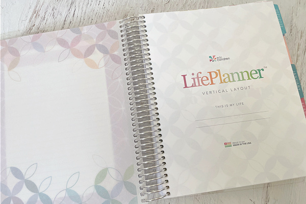 ErinCondren planner open to title page