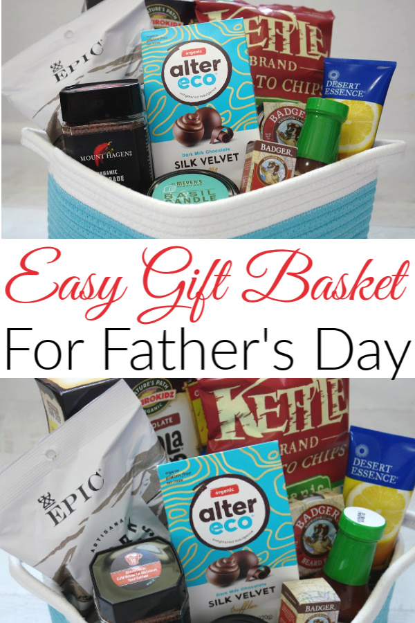 collage with gift basket filled with gifts for men