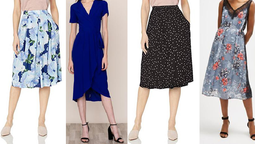 model photos of two skirts and two dresses from Armoire