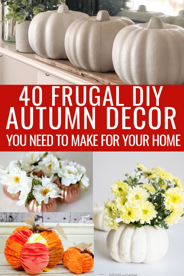 collage of frugal fall decor ideas