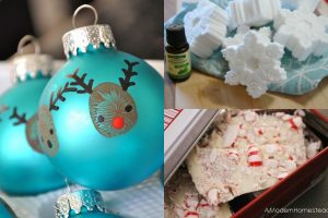 collage featuring reindeer ornaments, snowflake bath bombs, and peppermint bark
