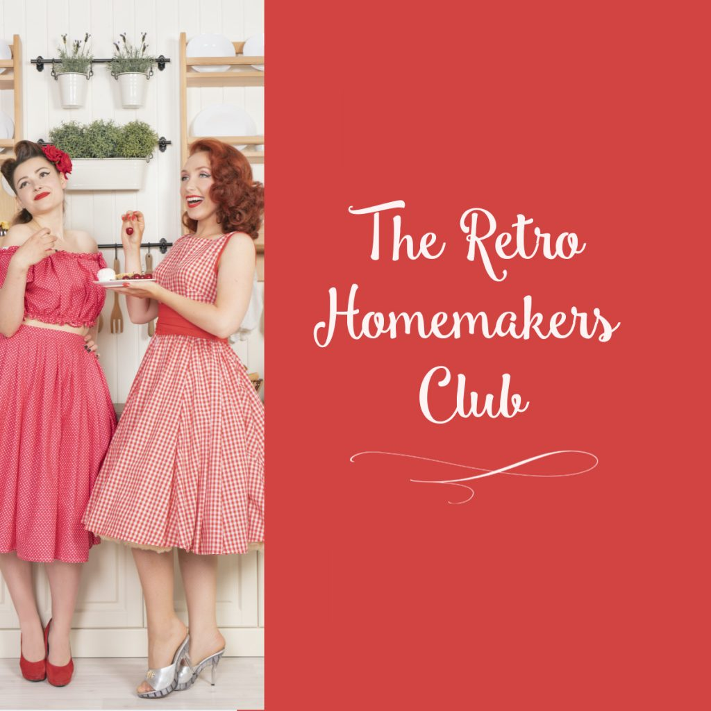 two 1950s housewives drinking tea and chatting