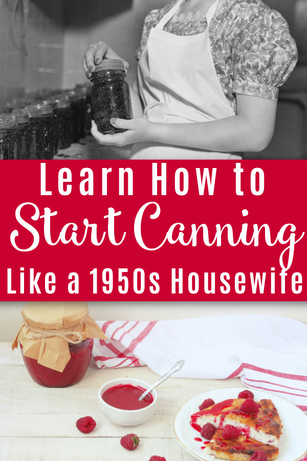 photo of retro housewife holding a canning jar with photo of canned raspberry jam with raspberry dessert