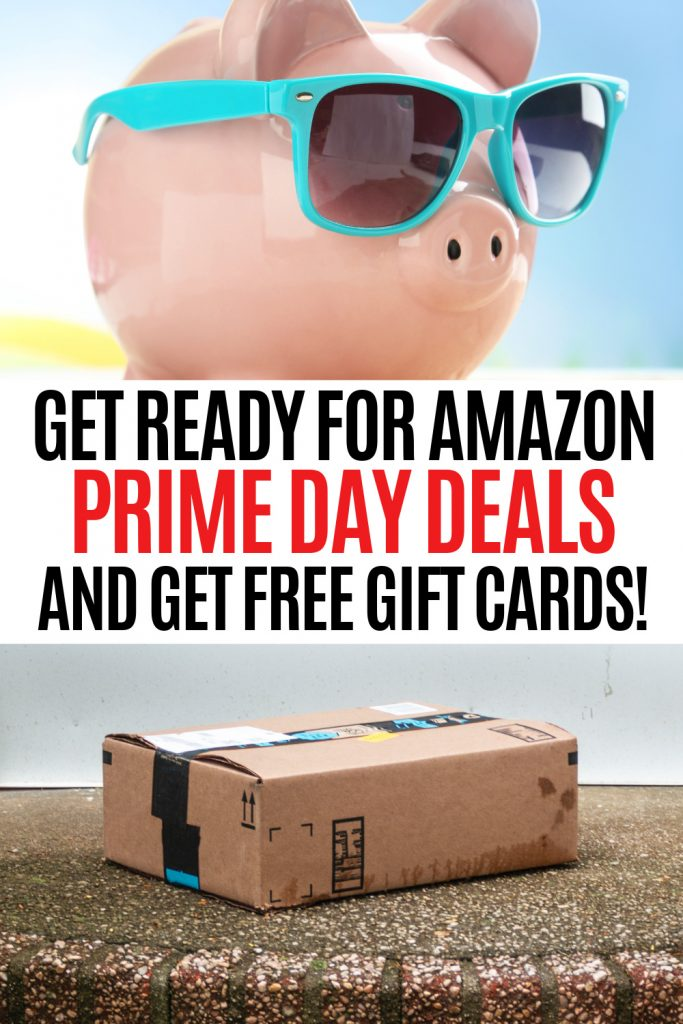 piggy bank with sunglasses and amazon prime day box on porch