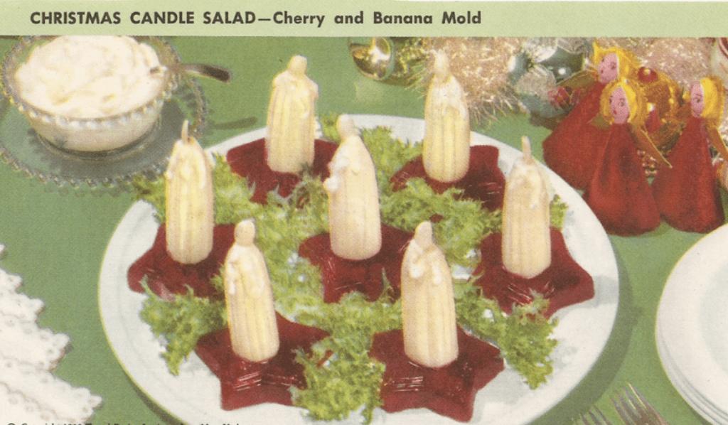 retro christmas dish, bananas in cherry sauce