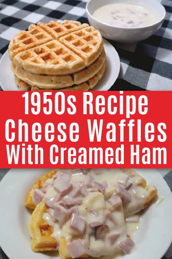 collage of cheese waffles with creamed ham on plates on table