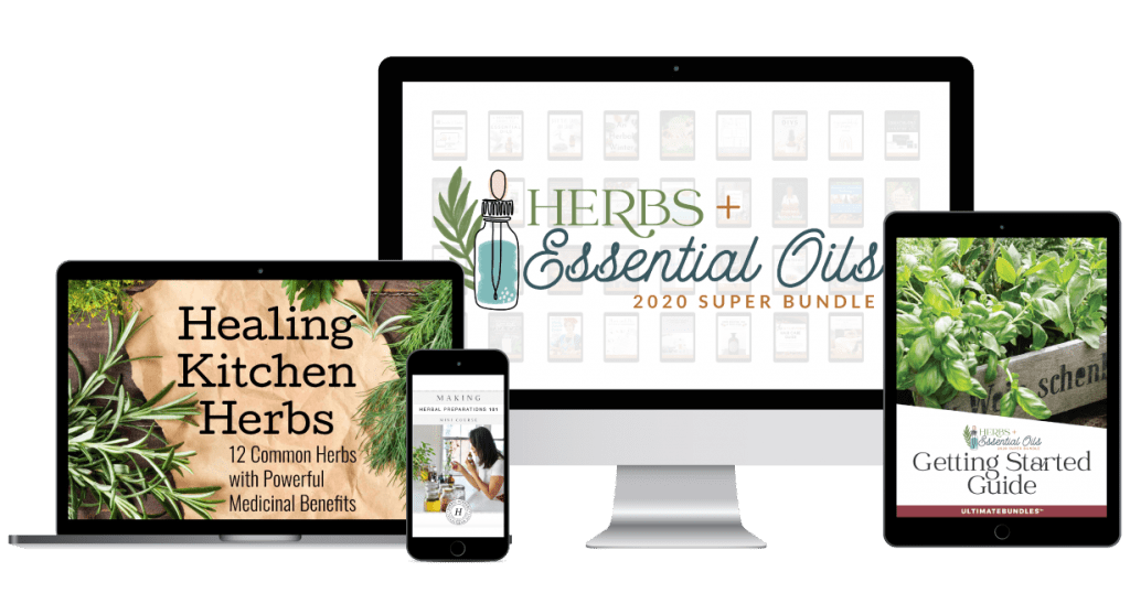 herb and essential oil bundle on devices
