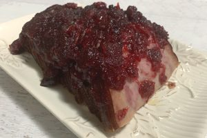 close-up of cranberry glazed ham