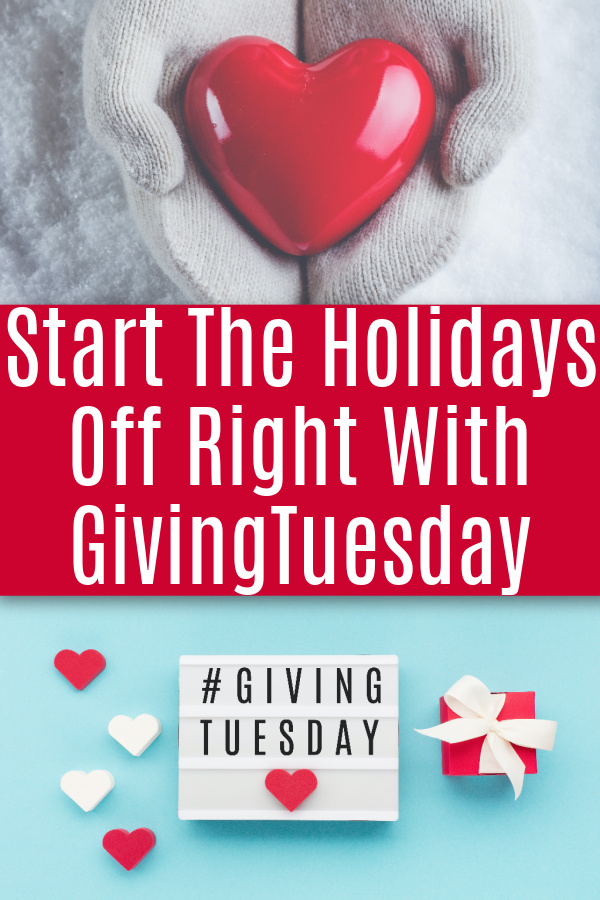 collage with photo of person wearing gloves and holding a red heart and sign with #givingtuesday on blue background with red gift and hearts