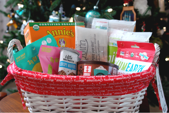 gift basket in front of christmas tree with movie snacks