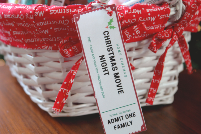 christmas movie night ticket gift tag on basket