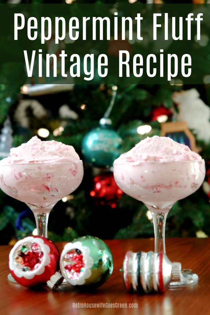 peppermint fluff in glasses in front of Christmas tree with mercury glass ornaments on table