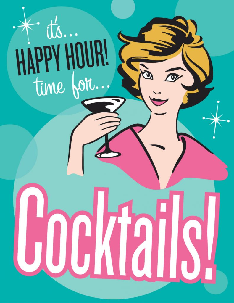 graphic of retro woman holding drink glass with text it's happy hour time for cocktails