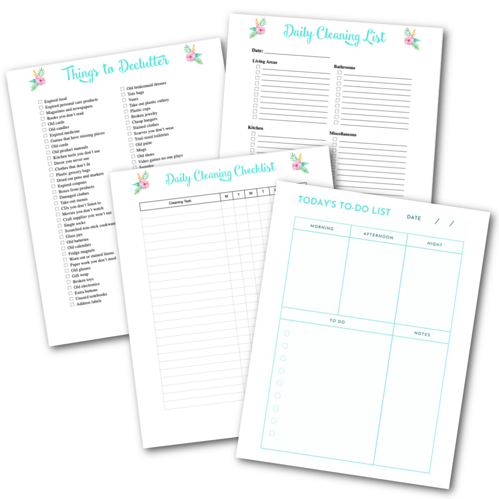four cleaning planner printables on white background