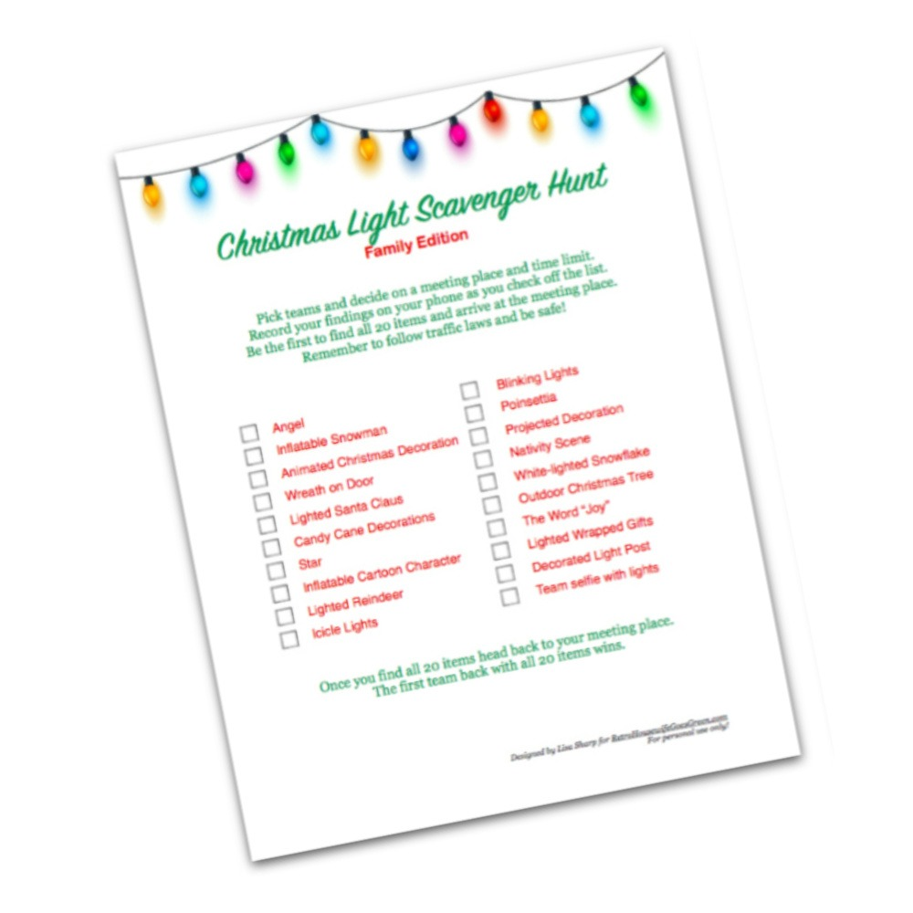 christmas light scavenger hunt printable preview