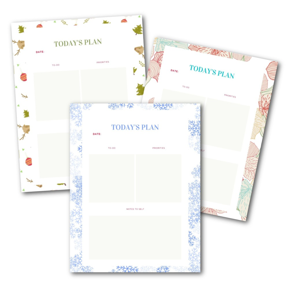 daily planning printables preview