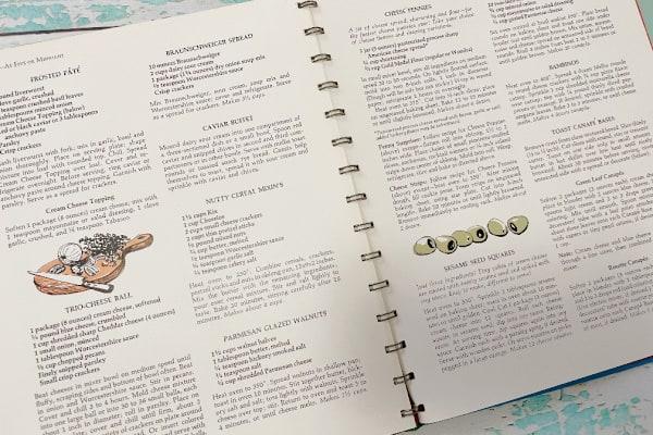 Betty Crocker's Hostess Cookbook open to retro appetizer recipes