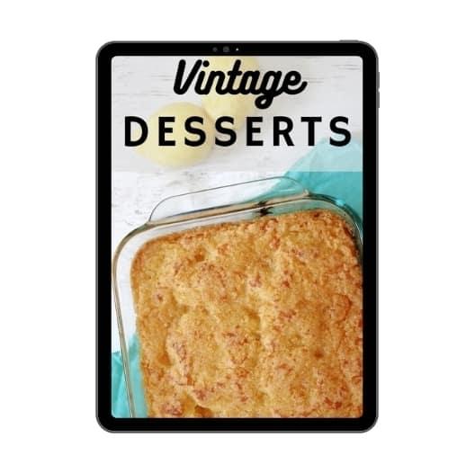 vintage desserts cookbook on tablet