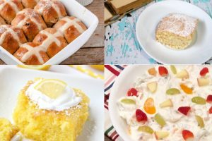 collage of easter desserts
