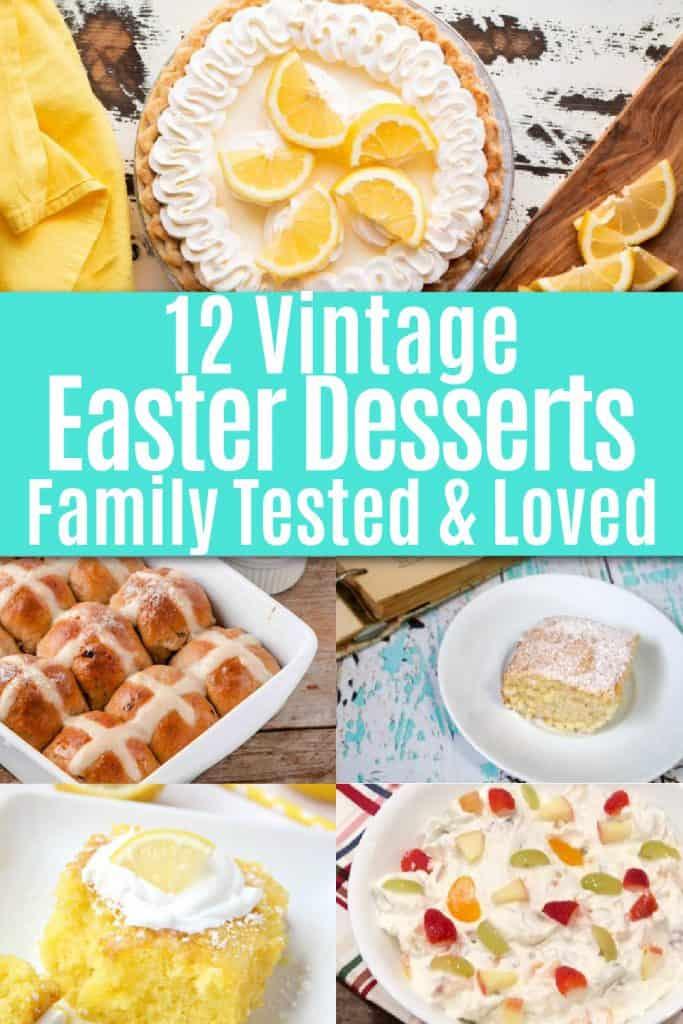 collage of vintage easter dessert recipes