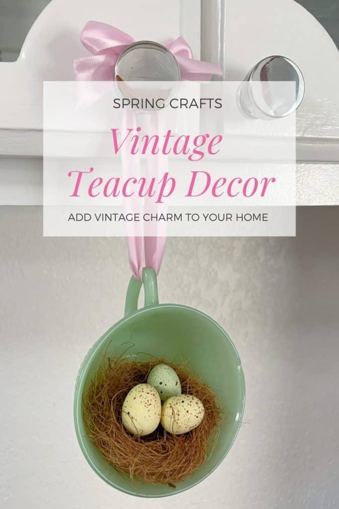 Jadeite vintage teacup with bird nest hanging on cabinet